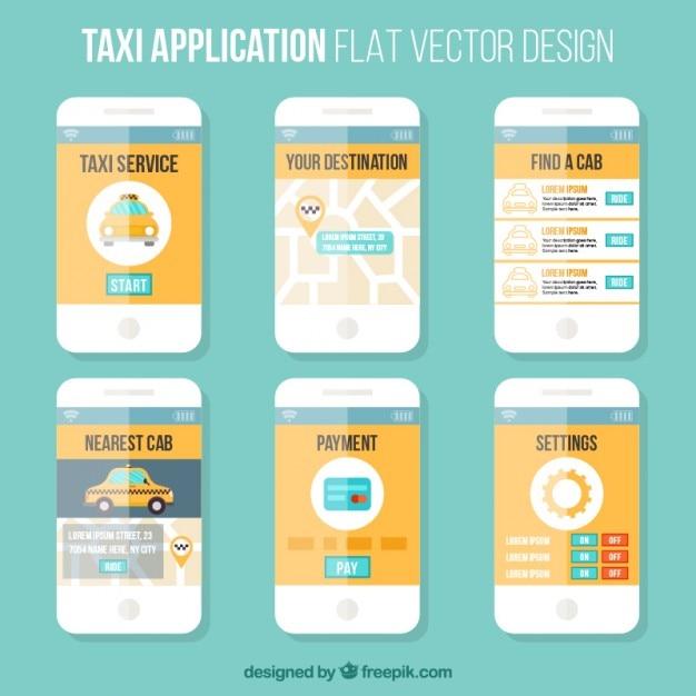 Plantilla estilo plano de una aplicación móvil para taxis vector gratuito