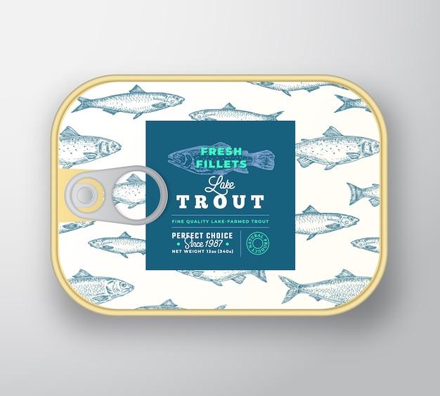 Plantilla de etiqueta de pescado enlatado. recipiente de aluminio de pescado abstracto con tapa de etiqueta. vector gratuito