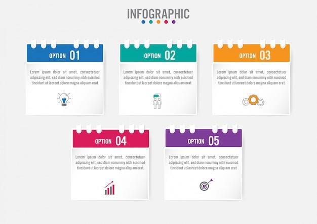 Plantilla de etiquetas de infografía de negocios con 5 opciones Vector Premium