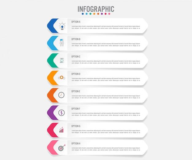 Plantilla de etiquetas de infografía de negocios con 8 opciones Vector Premium