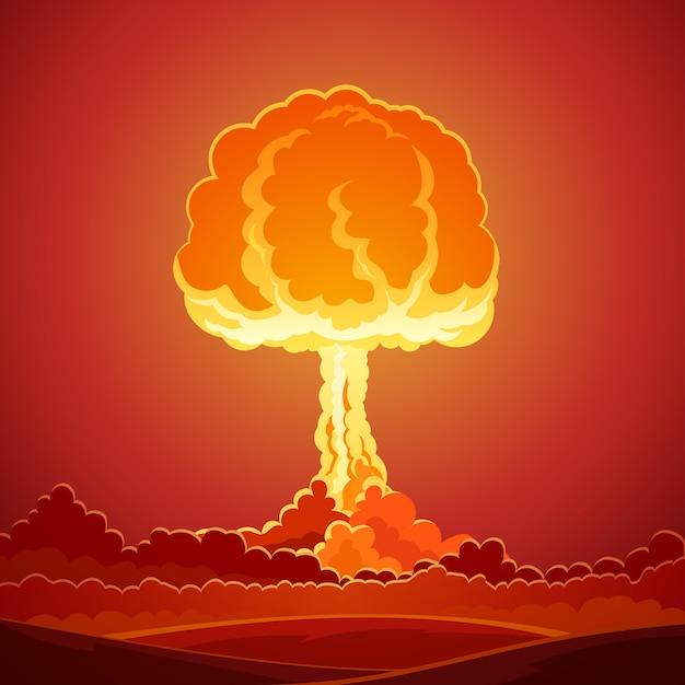 Plantilla de explosión de bomba nuclear vector gratuito