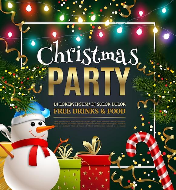 Plantilla festiva de fiesta de navidad vector gratuito