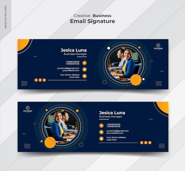 Plantilla de firma de correo electrónico y portada de redes sociales personales Vector Premium