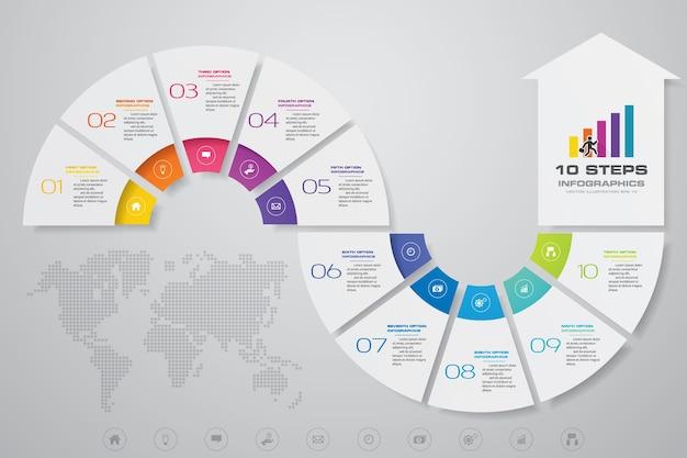 Plantilla de flecha de 10 pasos para la presentación de datos. Vector Premium