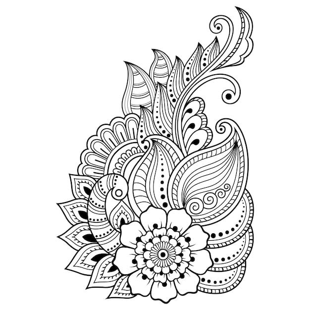 Plantilla de flor de tatuaje de henna en estilo indio. paisley floral étnico - lotus. estilo mehndi. patrón ornamental en el estilo oriental. Vector Premium