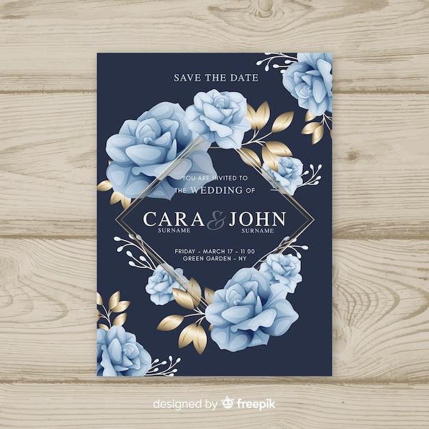 Plantilla floral de boda con elementos dorados vector gratuito
