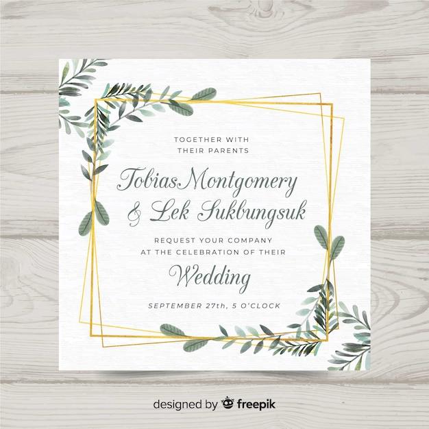 Plantilla floral de invitación de boda con marco elegante dorado vector gratuito