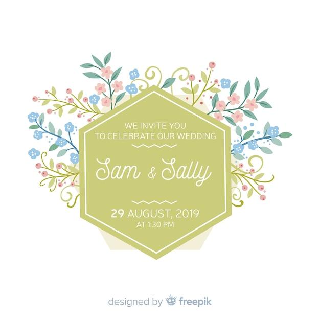 Plantilla floral de la invitación de la boda del marco vector gratuito