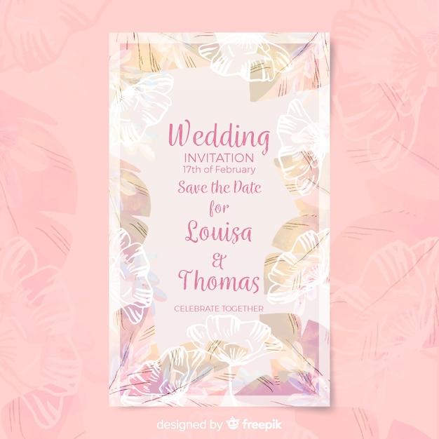 Plantilla floral de invitación de boda vector gratuito