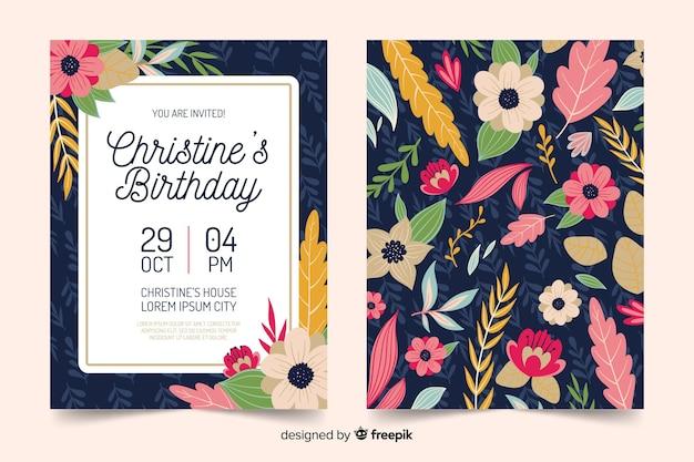 Plantilla floral de invitación de cumpleaños vector gratuito