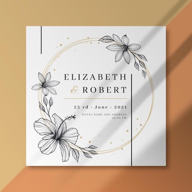 Plantilla floral de tarjeta de boda vector gratuito