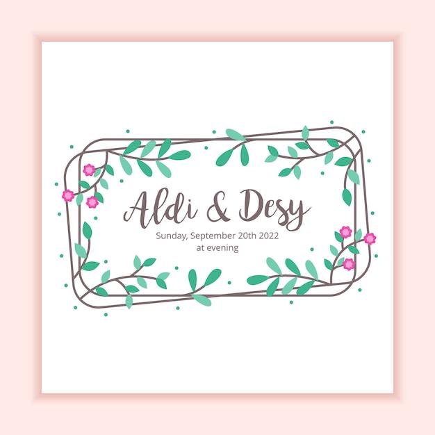Plantilla floral de la tarjeta de la invitación de la boda del marco Vector Premium