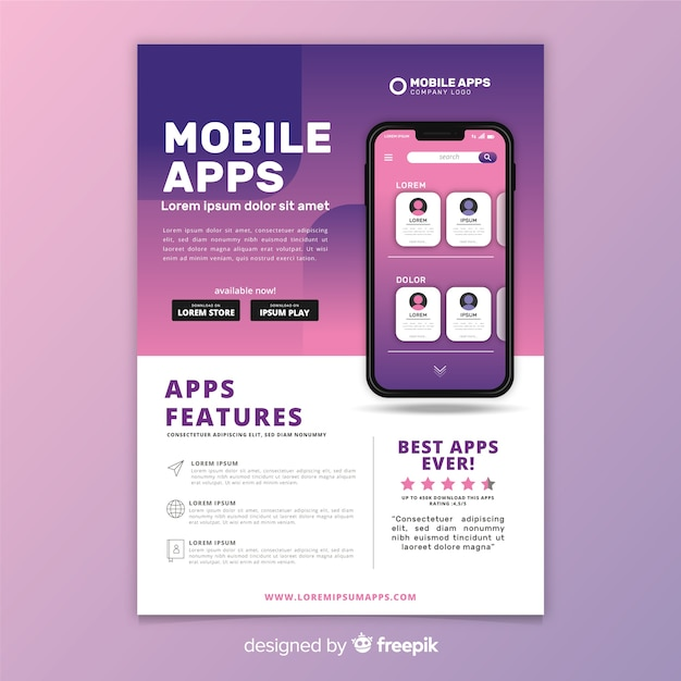 Plantilla de flyer de aplicación móvil vector gratuito