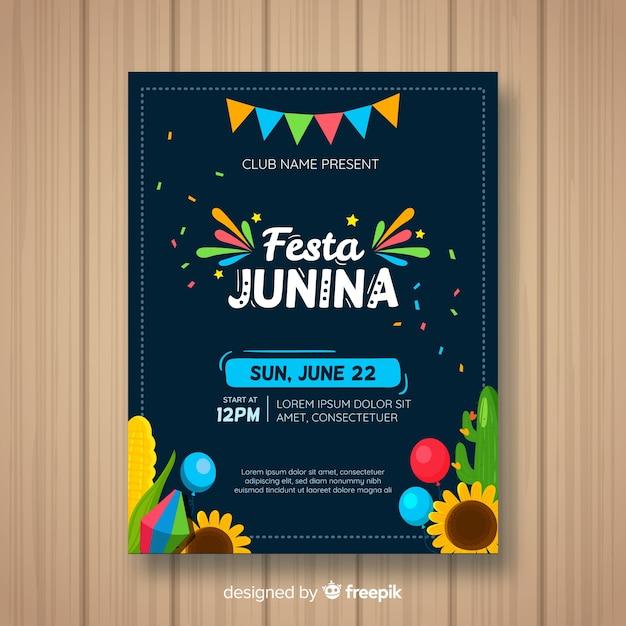 Plantilla de flyer de festa junina flat vector gratuito