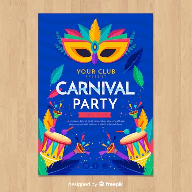 Plantilla de flyer de fiesta de carnaval vector gratuito