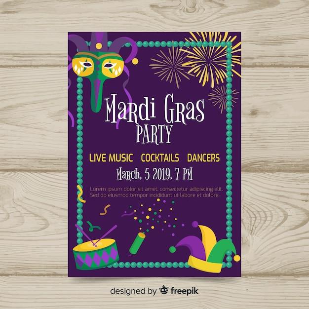 Plantilla de flyer de fiesta de mardi gras carnaval vector gratuito