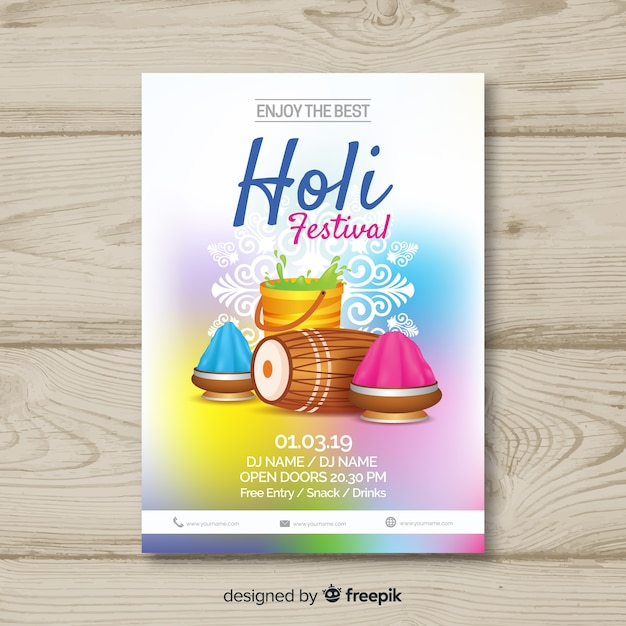 Plantilla de flyer de holi festival vector gratuito