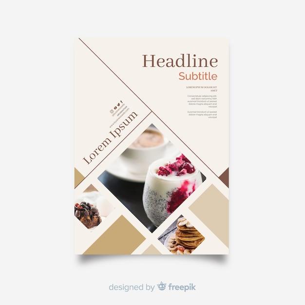 Plantilla de flyer para negocio con mosaico de imágenes vector gratuito