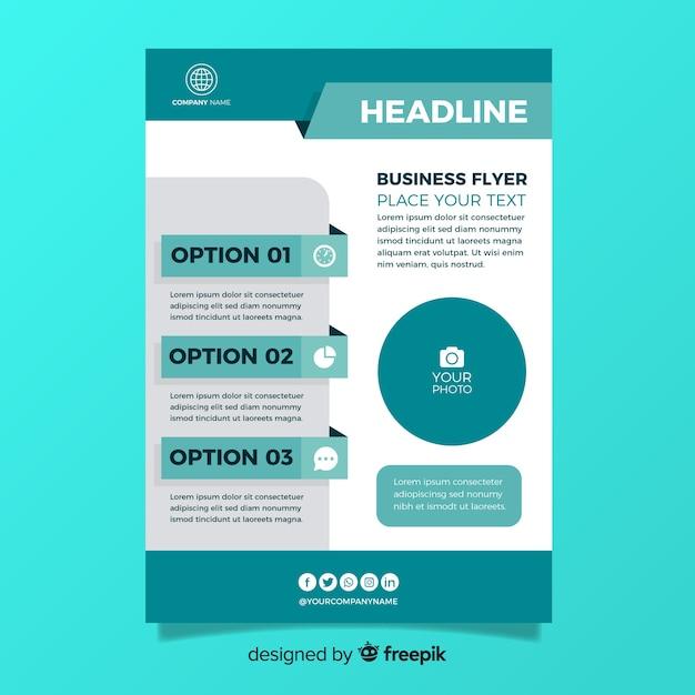 Plantilla de flyer de negocios en diseño plano vector gratuito