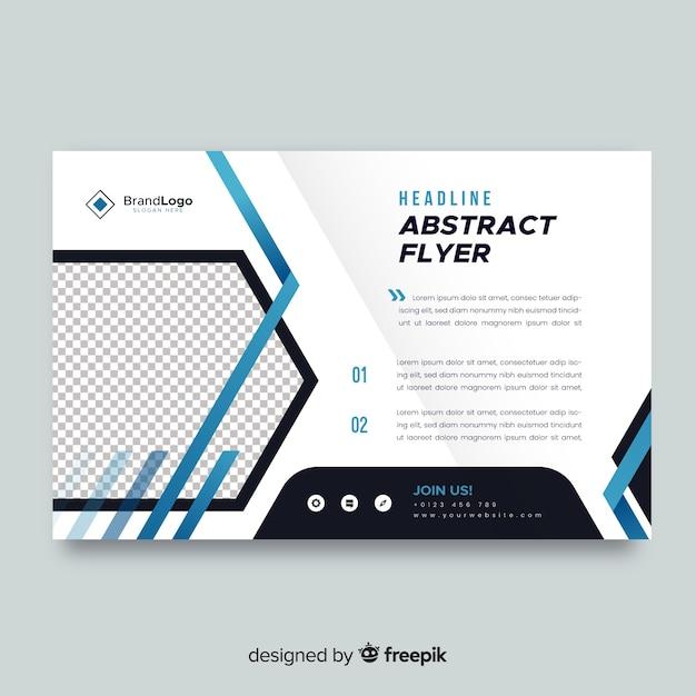 Plantilla de flyer de negocios con formas abstractas vector gratuito