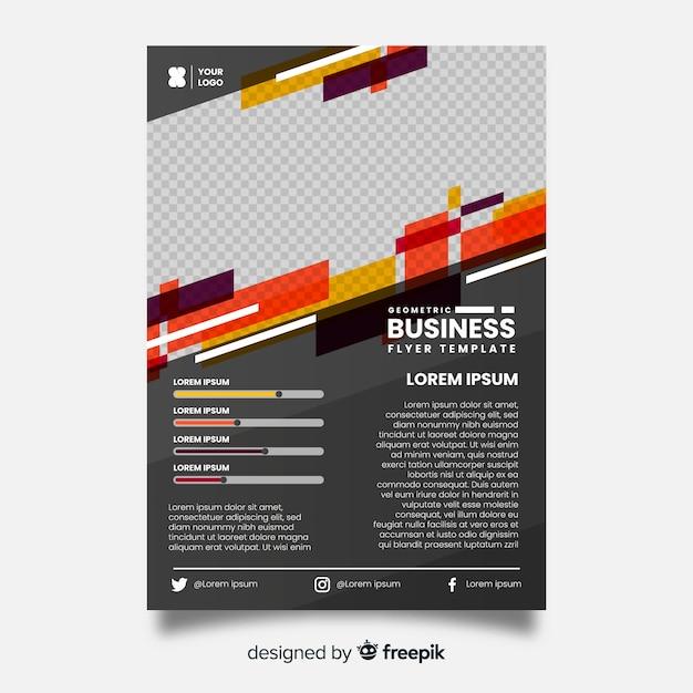 Plantilla de flyer de negocios geométrico vector gratuito