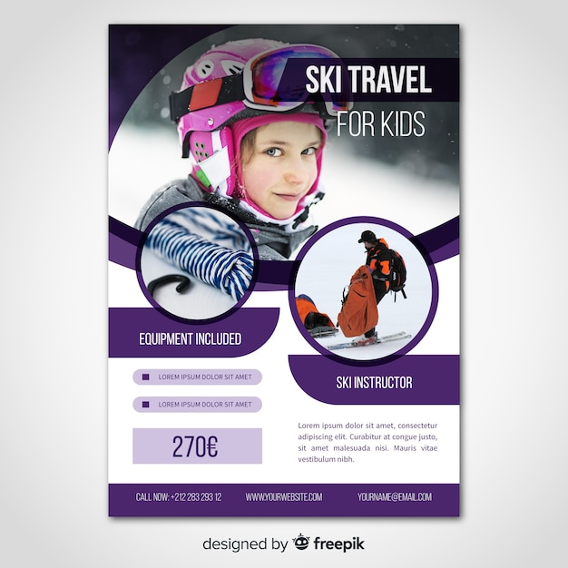 Plantilla de flyer de viaje para esquiar vector gratuito