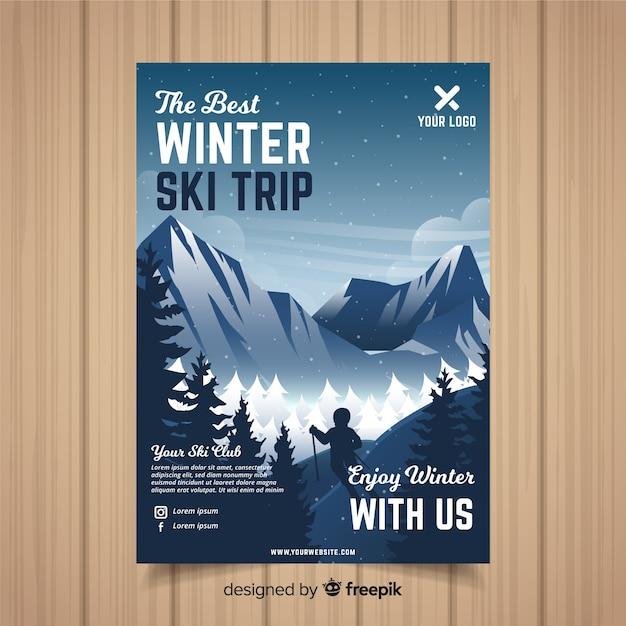 Plantilla de flyer de viajes para esquiar vector gratuito