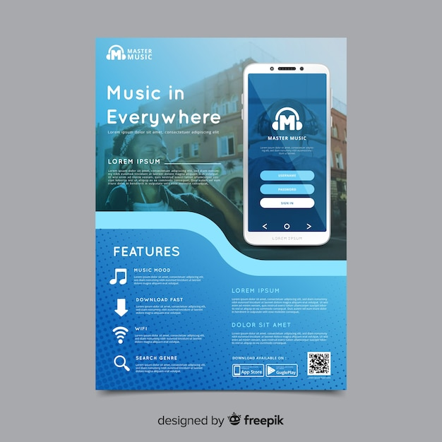Plantilla de folleto de aplicaciones móviles vector gratuito