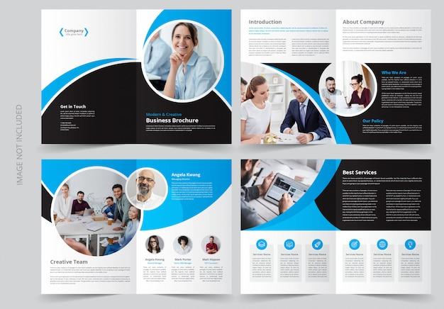 Plantilla de folleto comercial de 8 páginas Vector Premium