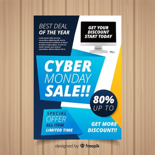 Plantilla de folleto de cyber monday vector gratuito