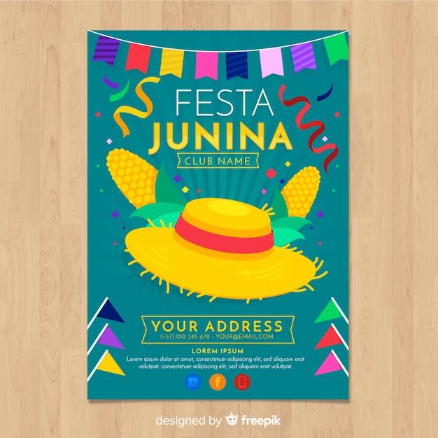 Plantilla de folleto de fiesta junina vector gratuito