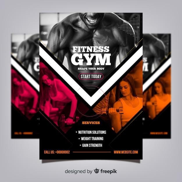 Plantilla de folleto de gimnasio con foto vector gratuito