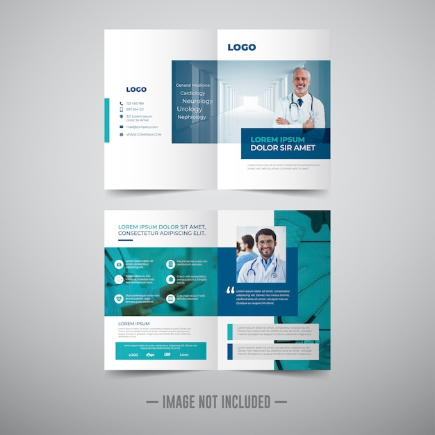 Plantilla de folleto - médico doble Vector Premium