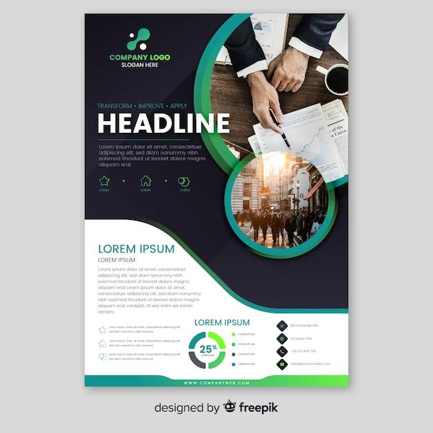 Plantilla de folleto de negocios con foto vector gratuito