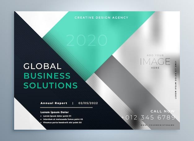 Plantilla de folleto de negocios profesionales corporativos geométricos vector gratuito