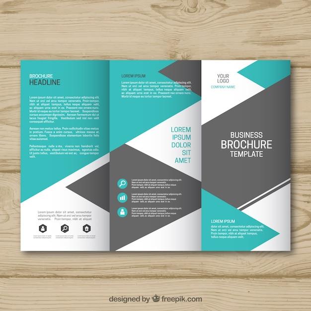 34f1d991a40e6 Plantilla de folleto de negocios tríptico azul y gris