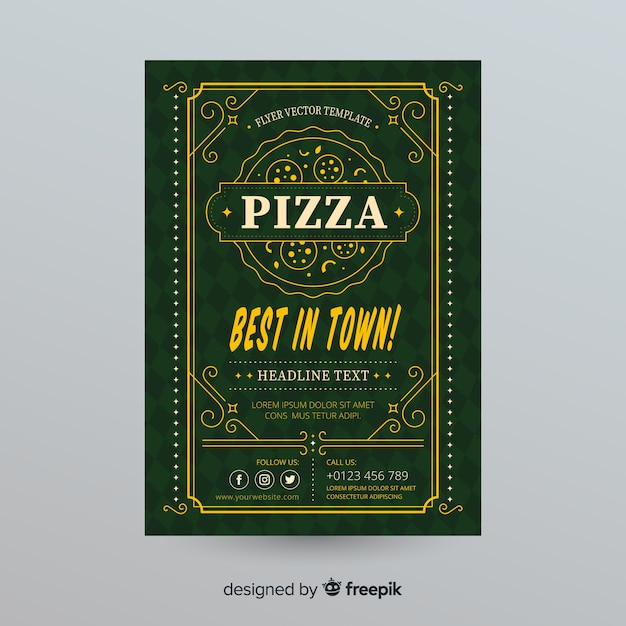 Plantilla de folleto de pizza vector gratuito