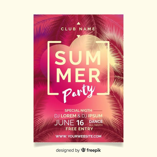 Plantilla de folleto realista de fiesta de verano vector gratuito