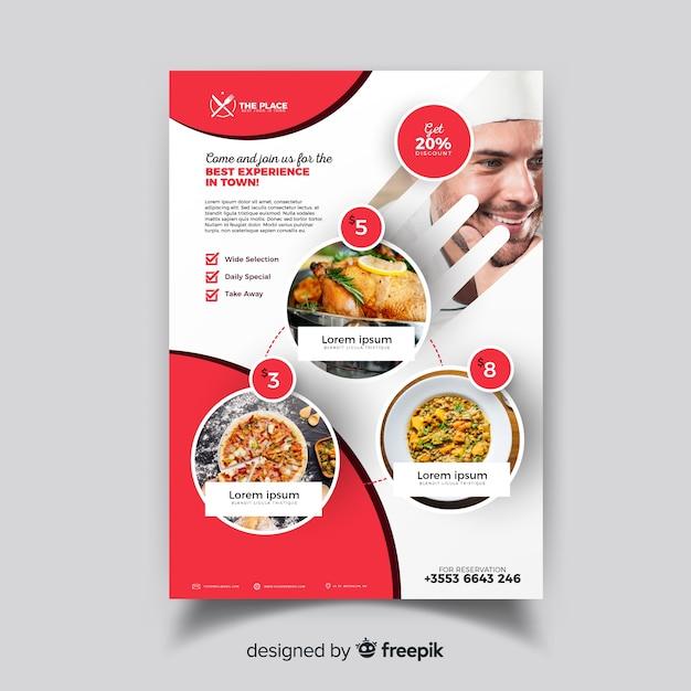Plantilla de folleto de restaurante elegante vector gratuito