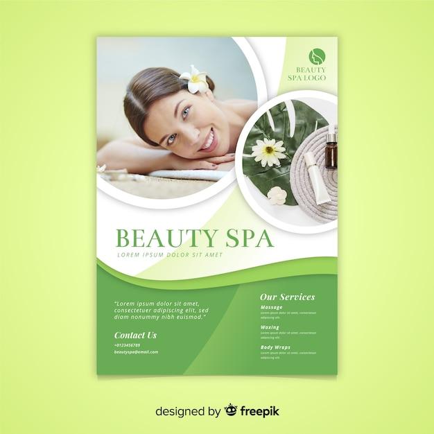 Plantilla de folleto de spa vector gratuito