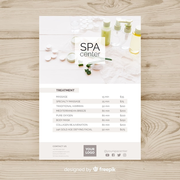 Plantilla de folleto de spa vector gratuito