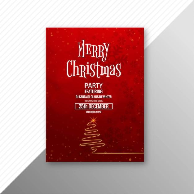 Plantilla de folleto de tarjeta de feliz navidad celebración vector gratuito