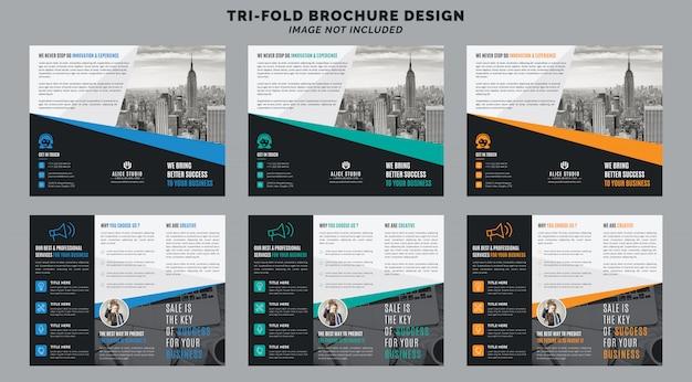 Plantilla de folleto triple Vector Premium
