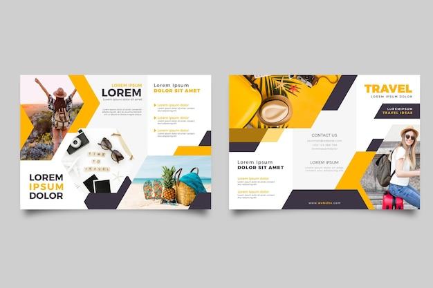 Plantilla de folleto tríptico abstracto con foto y anverso y reverso Vector Premium