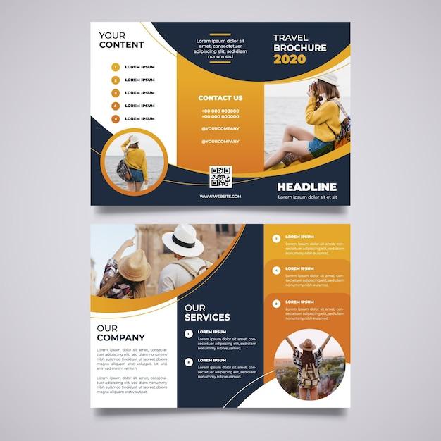 Plantilla de folleto tríptico abstracto con imagen vector gratuito