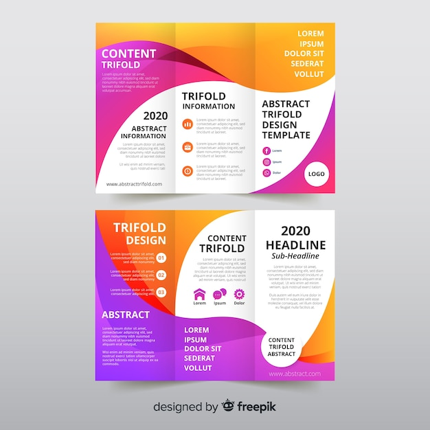 Plantilla de folleto tríptico abstracto vector gratuito