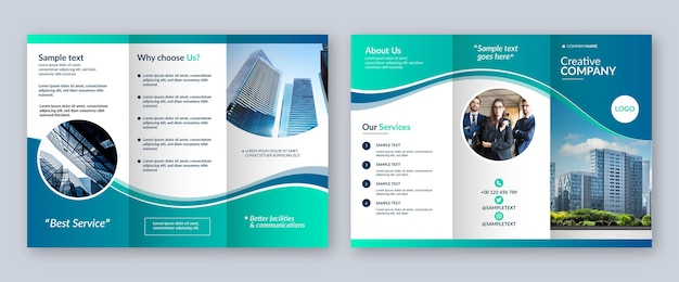 Plantilla de folleto tríptico abstracto Vector Premium