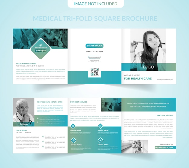 Plantilla de folleto tríptico cuadrado médico Vector Premium