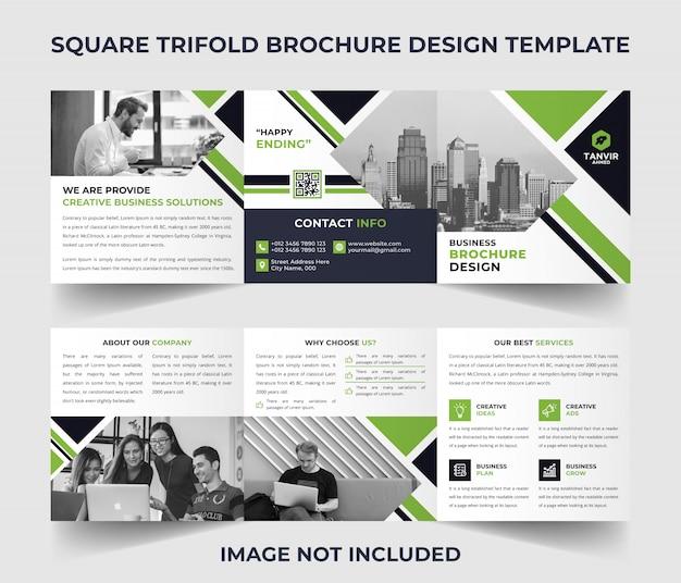Plantilla de folleto tríptico cuadrado Vector Premium