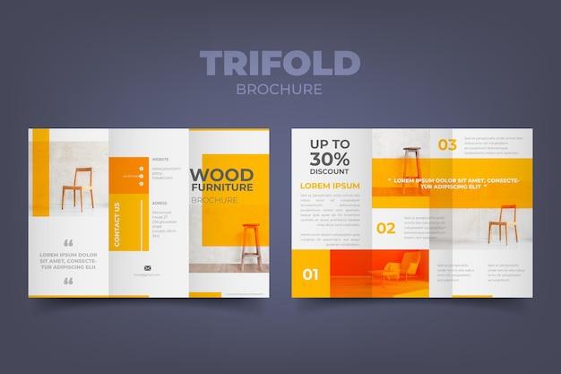 Plantilla de folleto tríptico mínimo Vector Premium